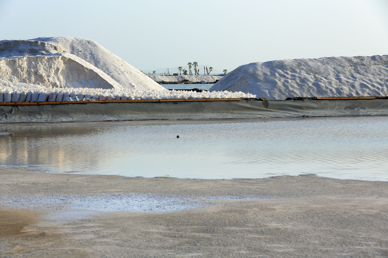 Salt mounds on the banks of Lake Afrera, Danakil Depression, Ethiopia.